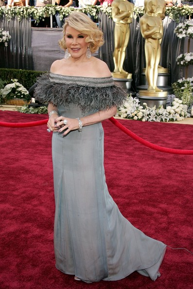 Joan Rivers Off-the-Shoulder Dress [red carpet,carpet,gown,dress,clothing,flooring,shoulder,strapless dress,bridal party dress,premiere,joan rivers,file,us,california,hollywood,kodak theatre,televisison,78th annual academy awards]