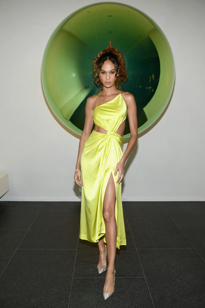 Joan Smalls Evening Pumps [green,clothing,shoulder,dress,yellow,beauty,fashion,standing,fashion model,cocktail dress,new york city,times square edition premiere,joan smalls]