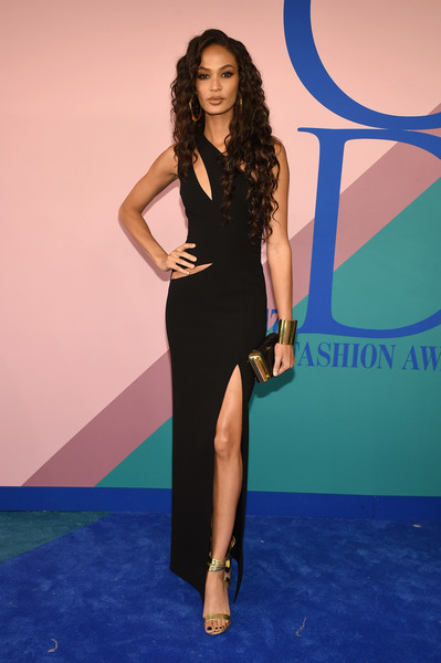 Joan Smalls Evening Sandals [fashion model,dress,flooring,little black dress,beauty,cocktail dress,shoulder,lady,joint,leg,arrivals,joan smalls,hammerstein ballroom,new york city,cfda fashion awards]