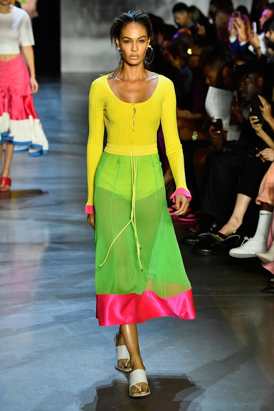 Joan Smalls Strappy Sandals [shows,the shows,fashion show,fashion model,fashion,runway,shoulder,clothing,waist,haute couture,footwear,yellow,prabal gurung,joan smalls,prabal gurung - runway,runway,new york city,spring studios,new york fashion week,show]