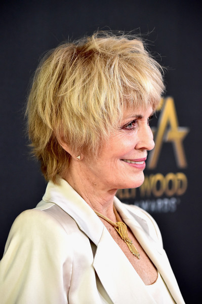 Joanna Cassidy Messy Cut [red carpet,hair,hairstyle,blond,face,chin,human,bob cut,crop,pixie cut,bangs,joanna cassidy,beverly hills,california,the beverly hilton hotel,annual hollywood film awards]