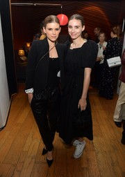 Rooney Mara opted for a pair of white Converse sneakers to finish off her look.