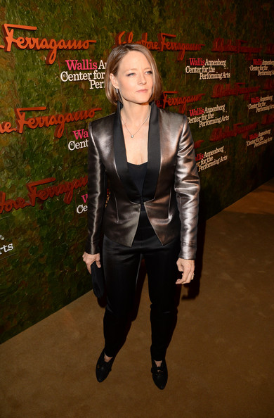 Jodie Foster Tuxedo [salvatore ferragamo,jodie foster,clothing,leather,jacket,outerwear,textile,leather jacket,suit,top,wallis annenberg center for the performing arts inaugural gala,beverly hills,california,wallis annenberg center for the performing arts inaugural gala,red carpet]