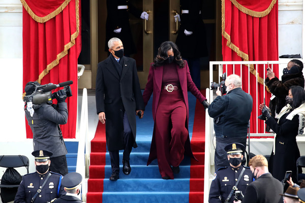 More Pics of Michelle Obama Wool Coat (1 of 95) - Michelle Obama Lookbook - StyleBistro [trousers,fashion,coat,standing,hat,curtain,suit,red,entertainment,event,joe biden,michelle obama,barack obama,president of the united states,president,inauguration,u.s.,u.s. capitol inauguration ceremony,inauguration,inauguration ceremony,inauguration of joe biden,united states,president of the united states,inauguration,first lady,united states presidential inauguration,mike pence]