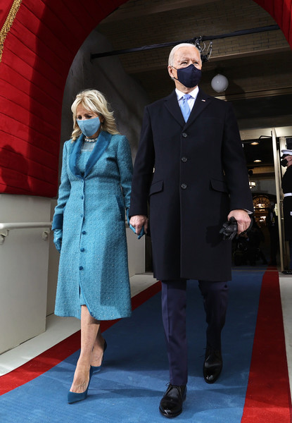 Jill Biden chose an elegant blue tweed coat by Markarian for Joe Biden's inauguration.