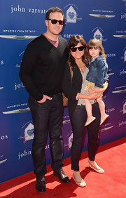 Tiffani Thiessen attended the Stuart House benefit wearing a cute pair of floral ballet flats.