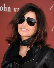 Gina Gershon attended the Stuart House benefit looking edgy-chic in her aviators and leather jacket.