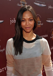 Zoe Saldana attended the 9th Annual Stuart House Benefit wearing her hair hair in straight layers.
