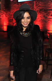 Vanessa looked hippie-glam in this fur-trimmed leather jacket and fedora at the John Varvatos celebration.