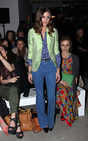 Olivia Palermo gave off a modern 1970s vibe in high-waisted jeans at the Jonathan Saunders Autumn/Winter 2012 show.