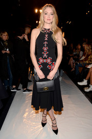 Lindsay Ellingson cut a stylish figure in a fringed and embroidered halter dress at the Jonathan Simkhai fashion show.