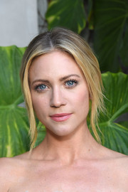 Brittany Snow sported a simple loose updo at the Jonathan Simkhai store opening.
