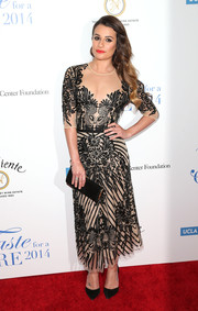 Lea Michele was Art Deco-glam in a floral-beaded sheer-illusion dress by Naeem Khan during the Taste for a Cure event.