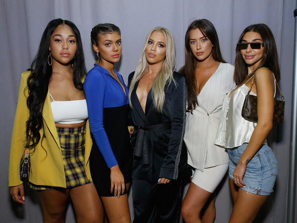 Jordyn Woods Blazer [fashion palette,shows,fashion,model,event,fun,leg,party,long hair,fashion model,thigh,brown hair,anastasia karanikolaou,tammy hembrow,jordyn woods,kelsey calemine,chantelle jeffries,the shows at industria studios,front row,new york fashion week]