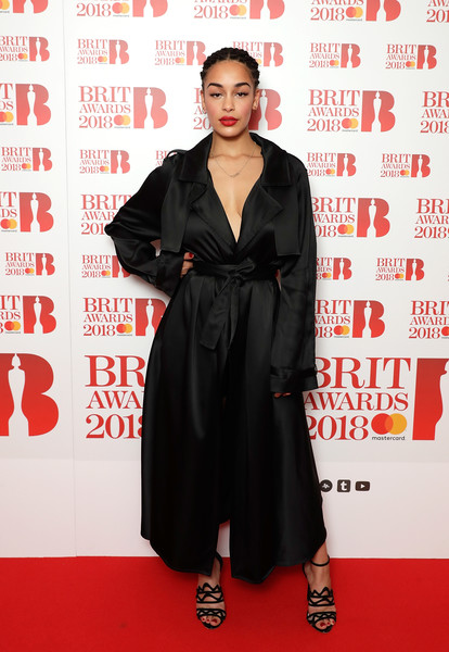 Jorja Smith Trenchcoat [clothing,red carpet,carpet,premiere,flooring,dress,event,formal wear,fashion model,jorja smith,brit awards,photocall,images,relation,nominations,england,london,itv studios,event]