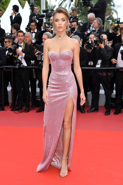 Josephine Skriver Strapless Dress [red carpet,dress,carpet,clothing,fashion model,premiere,flooring,shoulder,gown,fashion,josephine skriver,once upon a time in hollywood,screening,cannes,france,red carpet,the 72nd annual cannes film festival,cannes film festival]