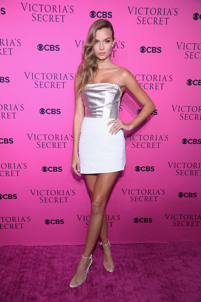Josephine Skriver Corset Top [dress,clothing,cocktail dress,shoulder,strapless dress,hairstyle,pink,fashion,premiere,footwear,josephine skriver,new york city,victorias secret,spring studios,victorias secret fashion show,victorias secret angels gather to watch,viewing party]