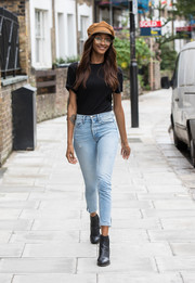 Jourdan Dunn chose a plain black tee for her off-duty look.