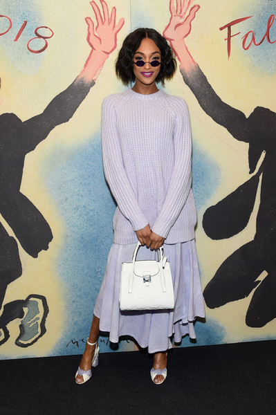 Jourdan Dunn Leather Tote [michael kors collection fall 2018 runway show,fashion,shoulder,flooring,outerwear,product,design,girl,pattern,shoe,vintage clothing,jourdan dunn,front row,new york city,lincoln center,vivian beaumont theatre]