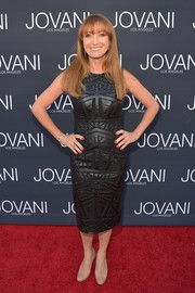 Jane Seymour went the edgy route in a geometric-embroidered leather dress at the Jovani LA flagship opening.