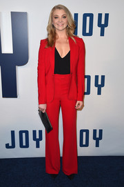 Natalie Dormer was '70s-chic in her red Issa pantsuit at the New York premiere of 'Joy.'