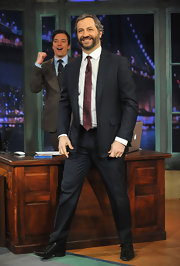 Judd Apatow sported a classic notch-lapel suit for his appearance on 'Late Night with Jimmy Fallon.'