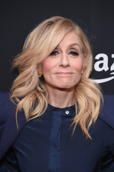 Judith Light Long Wavy Cut [hair,blond,human hair color,hairstyle,beauty,chin,smile,long hair,bangs,layered hair,judith light,fleabag emmy for your consideration,theater,new york city,the metrograph,amazon fleabag emmy fyc event,event]