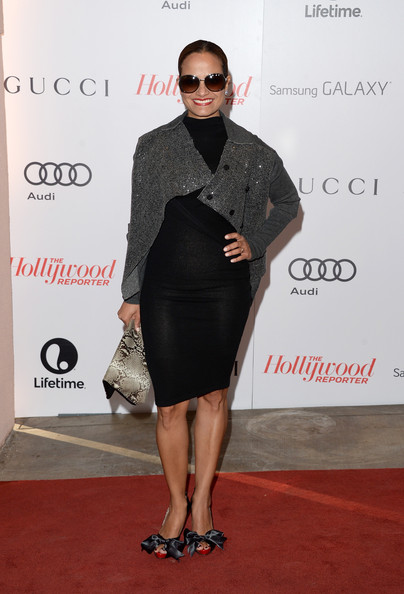 Judy Reyes Cardigan [little black dress,flooring,formal wear,fashion,fashion model,carpet,dress,outerwear,red carpet,cocktail dress,judy reyes,arrivals,beverly hills hotel,california,hollywood reporter,annual women in entertainment breakfast,the hollywood reporter]