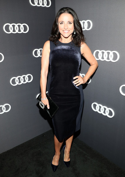 Julia Louis-Dreyfus Little Black Dress [clothing,dress,shoulder,little black dress,cocktail dress,fashion model,fashion,joint,footwear,leg,69th emmys,julia louis-dreyfus,emmys,dream hollywood,the highlight room,hollywood,california,audi celebrates]