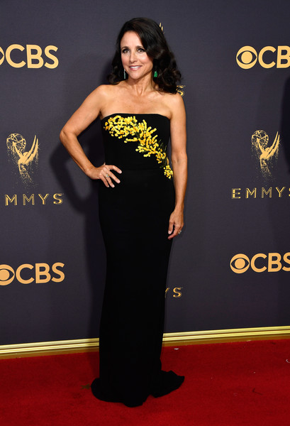 Julia Louis-Dreyfus Strapless Dress [yellow,flooring,carpet,shoulder,fashion model,dress,red carpet,gown,joint,formal wear,arrivals,julia louis-dreyfus,los angeles,california,microsoft theater,primetime emmy awards]
