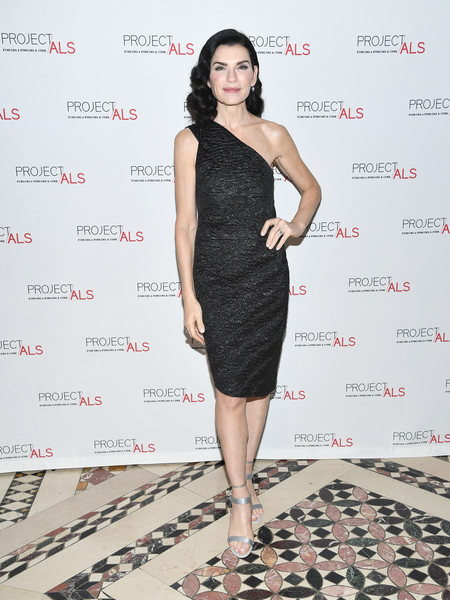 Julianna Margulies Evening Sandals [dress,clothing,fashion model,shoulder,cocktail dress,little black dress,fashion,hairstyle,joint,fashion design,julianna margulies,gala,new york city,cipriani 42nd street,project als 21st,project als]