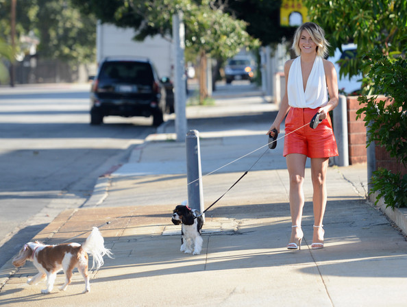 Julianne Hough Cuddles Her Puppies in Burbank