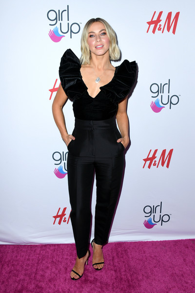Julianne Hough Ruffle Blouse [clothing,carpet,dress,pink,shoulder,fashion,joint,waist,red carpet,flooring,arrivals,julianne hough,girl up girlhero awards,beverly hills,california,beverly wilshire four seasons hotel]