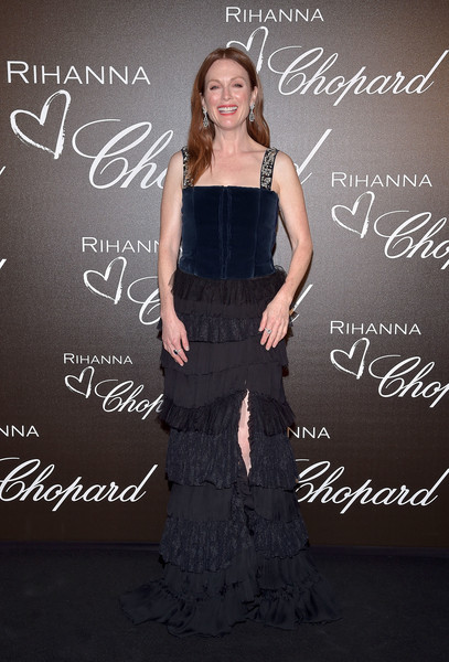 Julianne Moore Corset Dress [dress,fashion,font,long hair,premiere,gown,formal wear,style,chopard collection - the 70th annual cannes film festival,rihanna,julianne moore,honour of rihanna,honour,chopard rooftop,the rihanna x,chopard dinner,chopard,dinner]