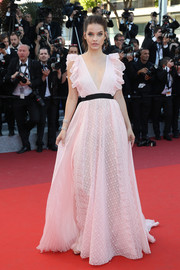 Barbara Palvin kept it sweet in a lacy pink ruffle gown by Philosophy di Lorenzo Serafini at the Cannes premiere of 'Julieta.'