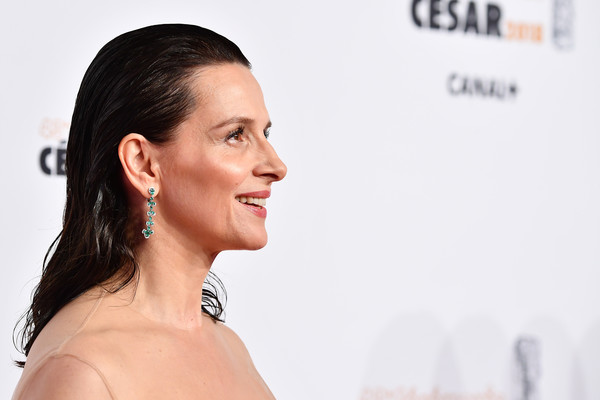 Juliette Binoche Long Straight Cut [face,hair,skin,chin,eyebrow,beauty,nose,cheek,head,hairstyle,red carpet arrivals - cesar film awards,paris,france,salle pleyel,le fouquet,juliette binoche]