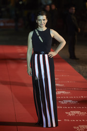 Juliette Binoche unleashed her inner rock star in a Mugler dress with a cutout bodice and a high-slit, striped skirt during the Seminici Valladolid International Film Festival.