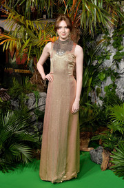 Karen Gillan was edgy-glam in a rose-gold Prada gown with chain bib detailing at the UK premiere of 'Jumanji: Welcome to the Jungle.'