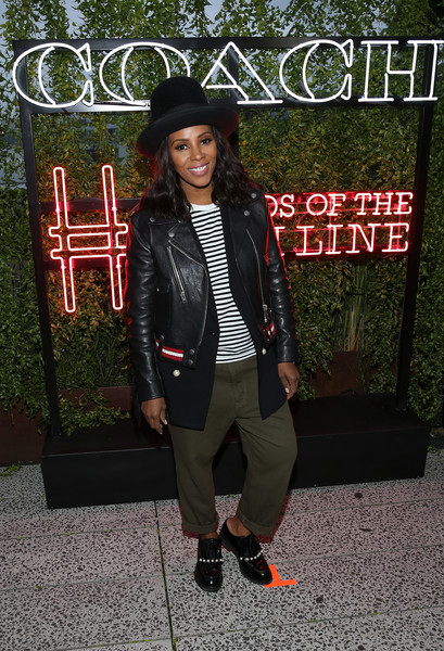 June Ambrose Leather Jacket [clothing,fashion,outerwear,jacket,street fashion,footwear,blazer,headgear,shoe,photography,coach,friends of the high line summer party,ambrose,friends of the high line,tv personality,new york city,high line,summer party]