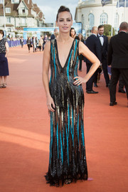 Berenice Bejo looked sassy in a black, teal, and gold sequin gown by Elie Saab at the Deauville American Film Festival closing ceremony.