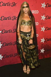 Leona Lewis paired her bra with a printed maxi skirt.