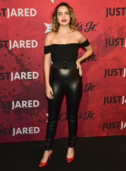 Bailee Madison nailed Sandy from 'Grease' with these shiny black leggings at Just Jared's Halloween party.