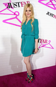 Katherine McNamara was casual-chic in a teal shirtdress during the JustFab ready-to-wear launch.