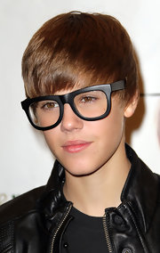 Justin rocked a cool pair of sunglasses with clear lenses.