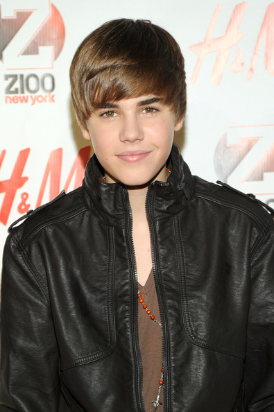 Justin Bieber Bowl Cut [hair,hairstyle,leather,jacket,forehead,leather jacket,bangs,textile,black hair,justin bieber,h m - press room,new york city,madison square garden,z100,jingle ball 2010]