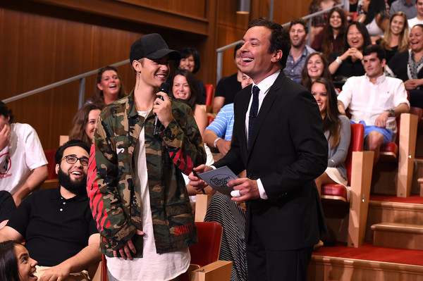 More Pics of Justin Bieber Military Jacket (1 of 13) - Justin Bieber Lookbook - StyleBistro [justin bieber,the tonight show starring jimmy fallon,event,ceremony,performance,heater,new york city,rockefeller center]