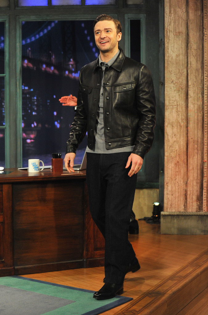 09988fade84 Justin Timberlake traded in his suit and tie for this black leather jacket  on an appearance
