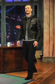 Justin Timberlake traded in his suit and tie for this black leather jacket on an appearance of 'Late Night with Jimmy Fallon.'