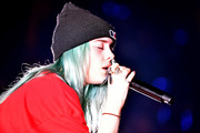 Billie Eilish topped off her look with a black knit beanie when she performed during KROQ Absolut Almost Acoustic Christmas.