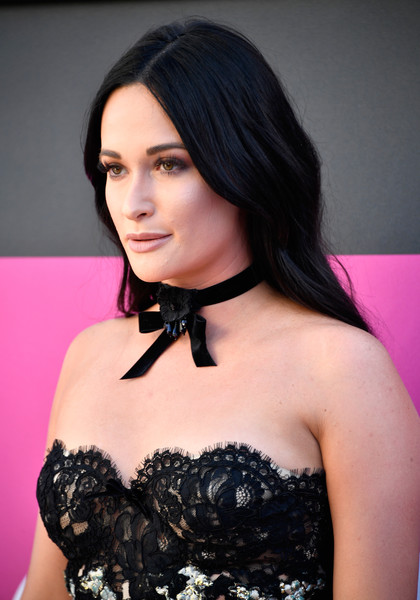 Kacey Musgraves Flower Choker [kacey musgraves,arrivals,hair,clothing,lady,beauty,black hair,hairstyle,shoulder,fashion,dress,lip,las vegas,nevada,toshiba plaza,academy of country music awards]